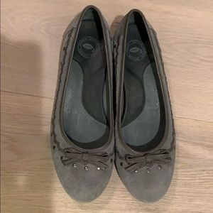Gray suede slip on shoes